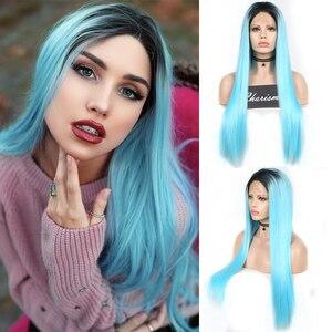 Perruque Lace Front Wig synthétique lisse-Charisma   Perruque Ombre bleue résistante à la chaleur, perruques soyeuses pour femmes à racines noires, perruques de Cosplay