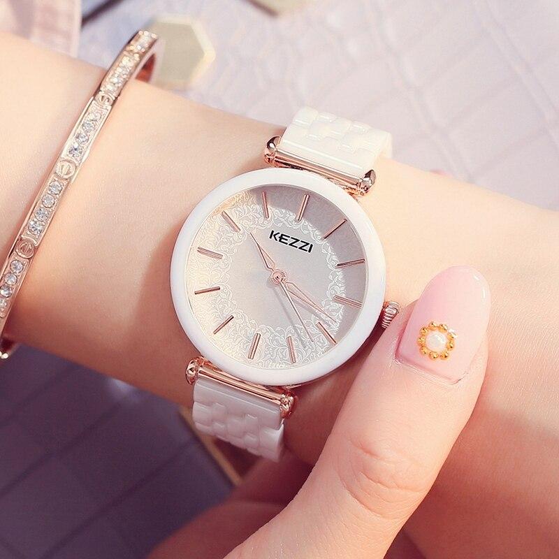 KEZZI, Лидирующий бренд, Relogio Feminino, женские керамические наручные часы, стразы в виде ракушки, женские часы-браслет, водонепроницаемые