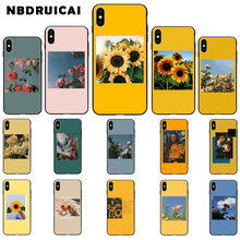 NBDRUICAI art Pink Yellow Sunflower Rose Soft Silicone Phone Case Cover for iPhone 11 pro XS MAX 8 7 6 6S Plus X 5 5S SE XR case webbedepp jack skellington silicone soft case for iphone 5 se 5s 6 6s plus 7 8 11 pro x xs max xr