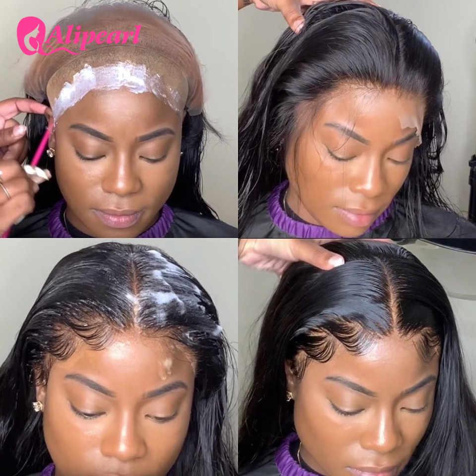 Perucas completas retas do cabelo humano do laço pré arrancadas com o cabelo do bebê para as mulheres perucas completas brasileiras do laço 180% densidade remy alipearl cabelo