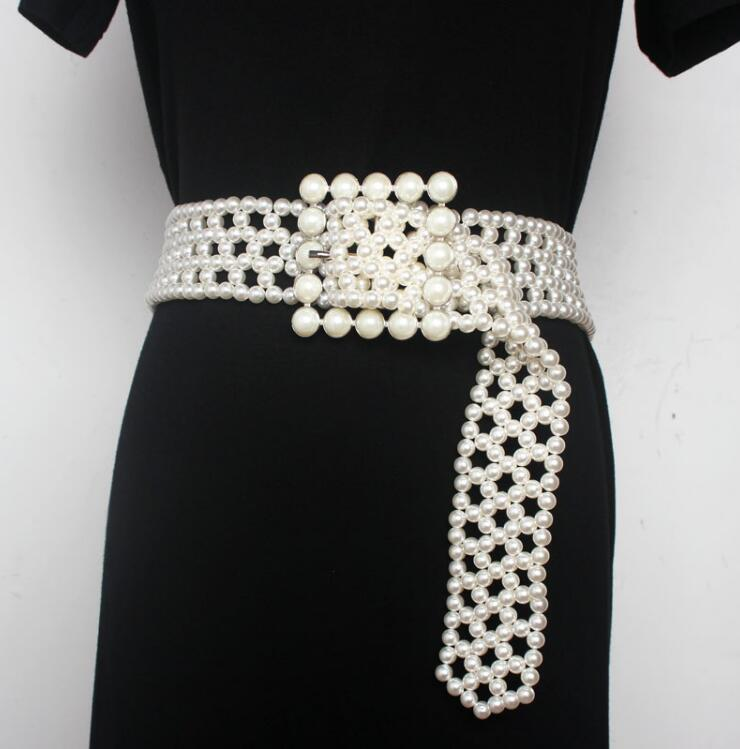 Women's Runway Fashion Pearl Knitted Cummerbunds Female Dress Coat Corsets Waistband Belts Decoration Wide Belt R2190