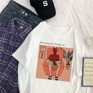 Japanese Gothic Harajuku Summer Female Tops Devil Letter Spoof Print Casual Loose Fun Vintage Large Size Punk O-neck ins T-Shirt