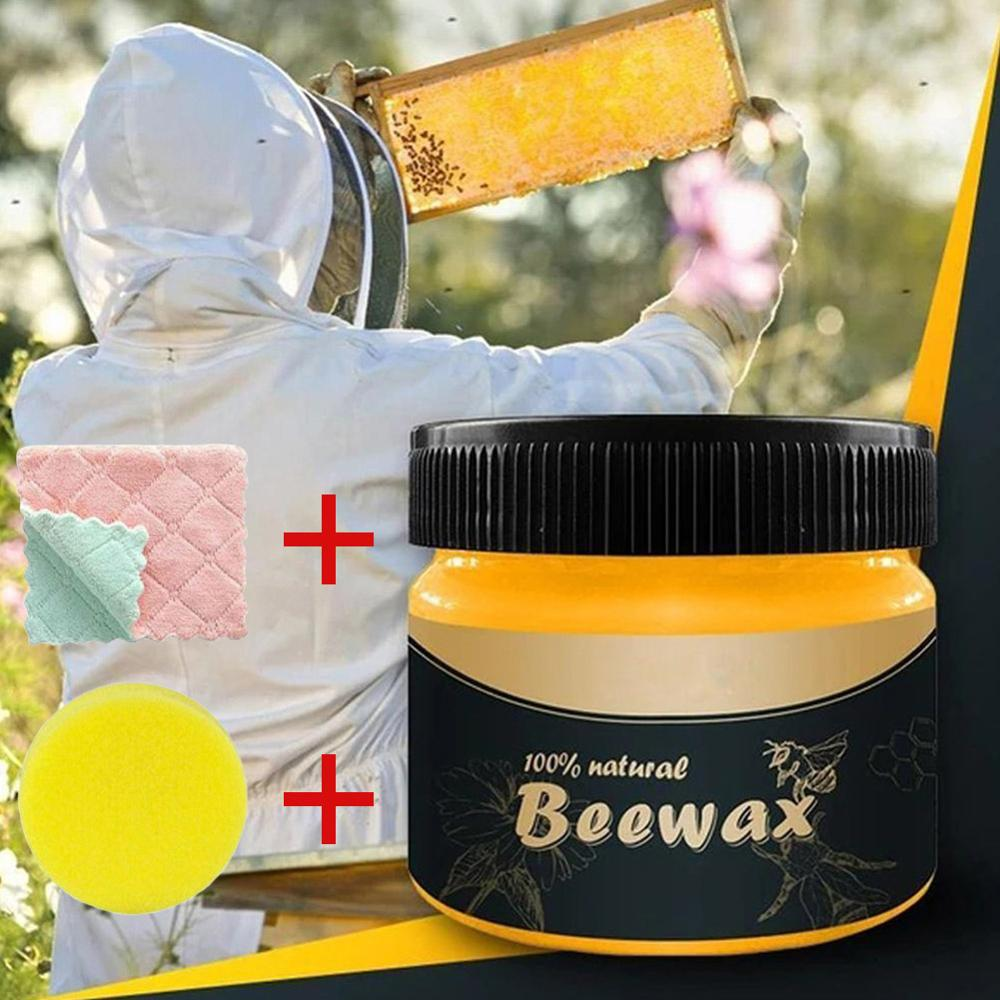 1 Pcs Wood Seasoning Beewax Wood Care Wax Solid Wood Maintenance Cleaning Polished Waterproof Wear-Resistant Wax Furniture Care