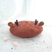 Cap Hat Antlers Painter Wool-Felt Female Lovely Mori Lei Christmas-Gifts Ear-Duobei Soft-Sister