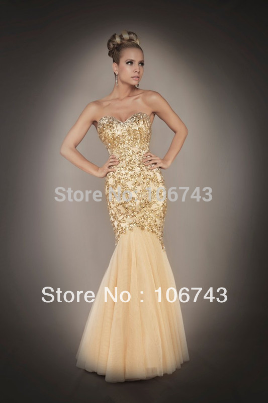 Sweetheart Floor Length 2020 New Design Hot Sale Sexy Bridal Gold Gown Mermaid Beads Custom Prom Dress Bride Dresses