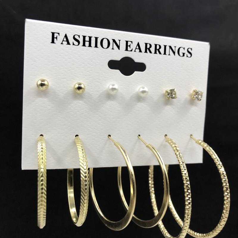 6/5Pairs/Set Korean Women Hoop Stud Earrings Set Fashion Jewelry Personalized Circle Clip On Earrings Set 2020