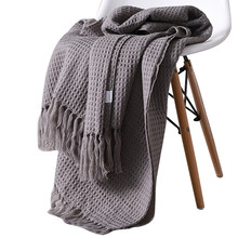130x160cm solid knitted blanket with Tassel nordic modern Soft plaid blanket for bed Chair sofa couch home decorative blankets(China)