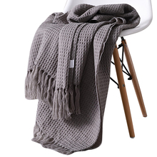 Cotton solid knitted Waffle plaid blanket with Tassel nordic modern Soft for bed Chair sofa couch home nap gray