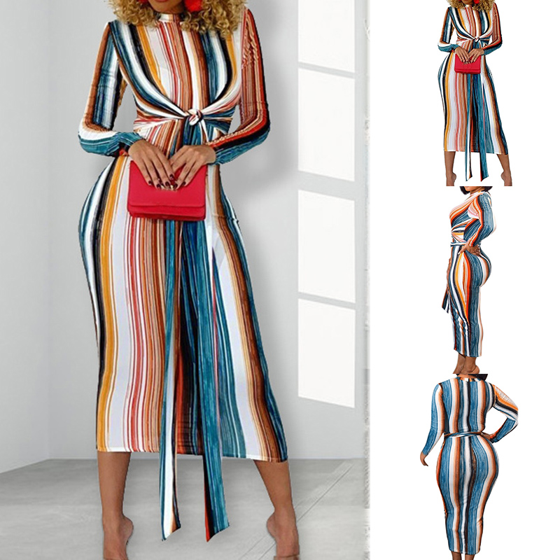 Hot Rainbow Striped Long Bandage Dress Women Long Sleeve Lace up Party Club Bodycon Dresses CGU 88