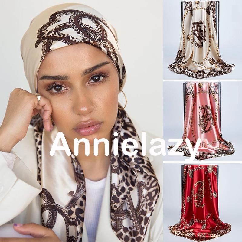 Silk Scarves Shawls Wrap Pareo Hair-Head Bandanna Square Satin Muslim Female Chiffon