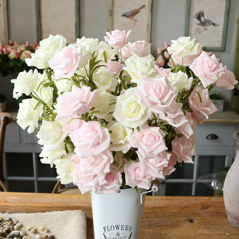 5PCS Rustic Style Rose Artificial Flower Home Decoration Fake Flower For Party Supplies