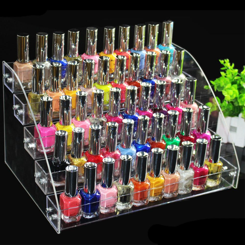 Multi-layer Transparent Acrylic Display Stand Nail Polish Cosmetic Stand Holder Manicure Tool Organizer Storage Rack