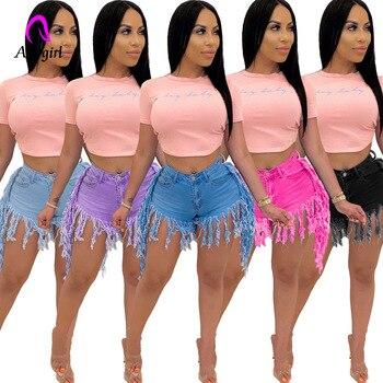 Rosy Denim Shorts Summer Women Zipper Fly Washed Tassel Hem Regular Denim Short Pants Classic Streetwear Distressed Shorts Jeans star print hemming design distressed zipper fly straight leg jeans