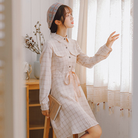 Film has not below ~ autumn, female is plaid shirt collar long sleeved dress dress art and pure and fresh