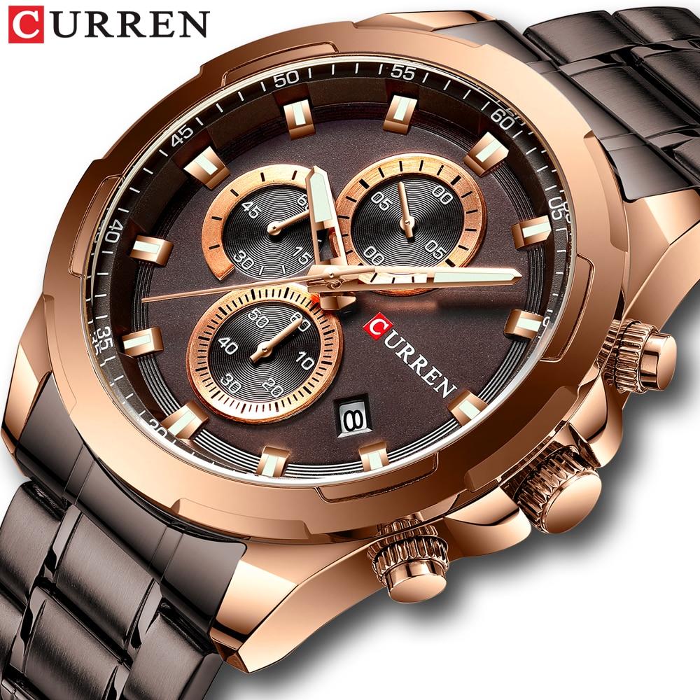 Relogio Masculino New CURREN Fashion Brand Mens Watches Full Steel Business Quartz Clock Military Sport Waterproof Watch Men