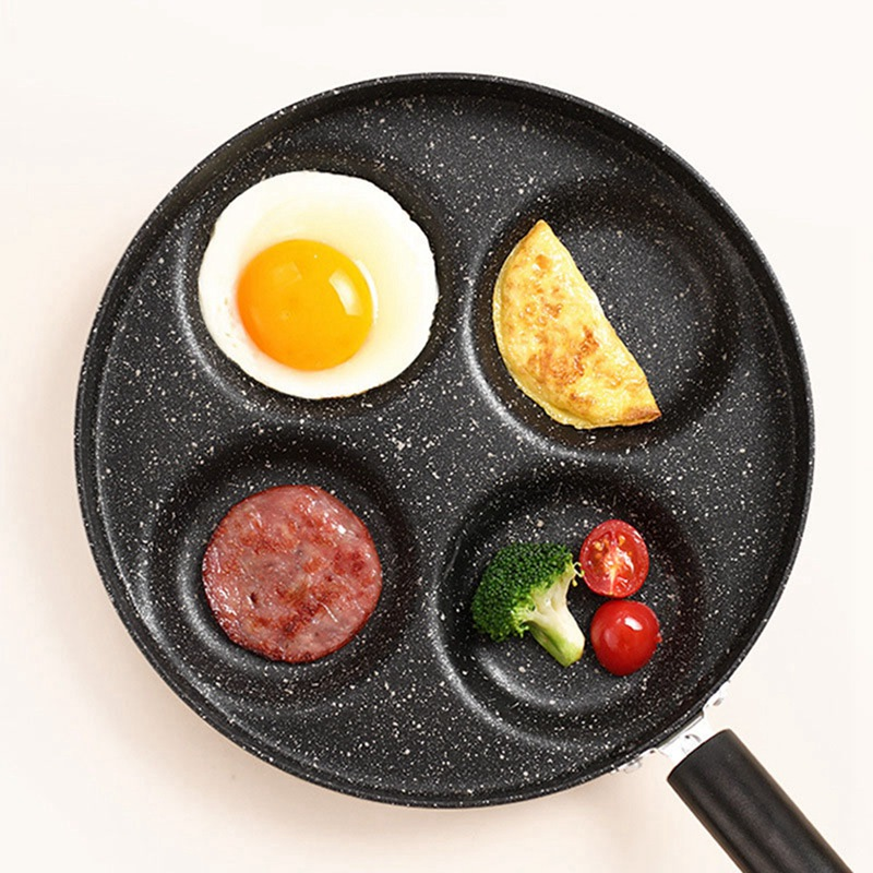 Four-hole Omelet Pan For Eggs Ham PanCake Maker Frying Pans Creative Non-stick No Oil-smoke Breakfast Grill Pan Cooking Pot Home