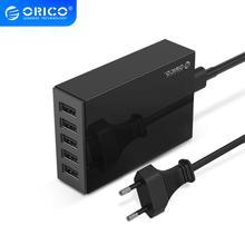 ORICO 5 포트 데스크탑 충전기 아이폰을위한 USB 휴대 전화 충전기 여행 충전기 삼성 Xiaomi EU 미국 영국 플러그 데스크탑 충전기