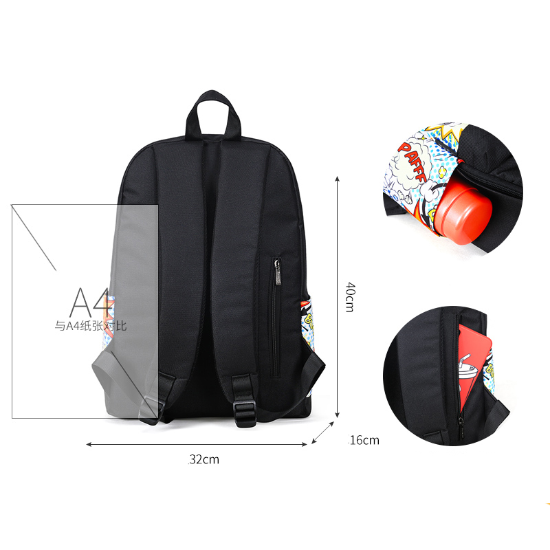 Fashion Printed Backpack Women Canvas School Bag For Teenage Girl Student Bookbag Travel Laptop Back Bag  Black Bagpack Rucksack