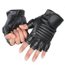 Охотничьи мужские черные тактические перчатки из искусственной кожи армейские спортзал фитнесс велосипедные перчатки половина пальца вождения черные перчатки ZY01