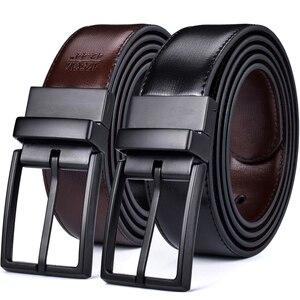 Image 1 - Mens Cintura, Reversibile Cinghie di Cuoio per Gli Uomini, Ruotato Fibbie, Vestito E Casual, classic & Disegni di Moda per Uomo
