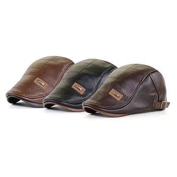 Men Beret Hat Leather Flat Cap Warm Autumn Winter Male  Adjustable High Quality Gatsby Mens Retro Beret Caps