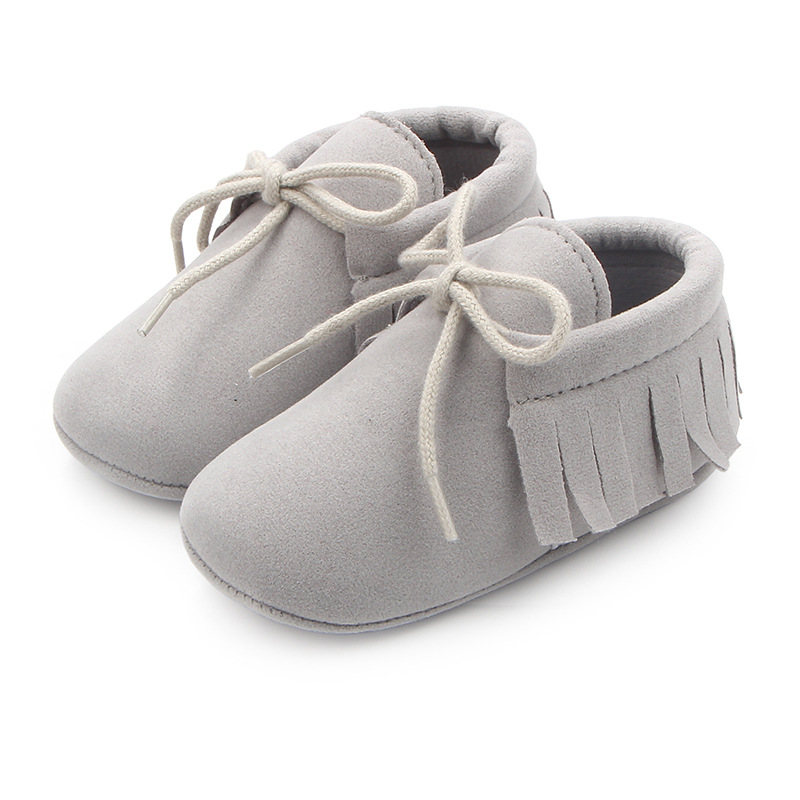 2019 PU Suede Leather Baby Shoes Baby Girl Classic Leisure Tassel Moccasins Fringe Soft Non-slip Crib Lace-up First Walkers