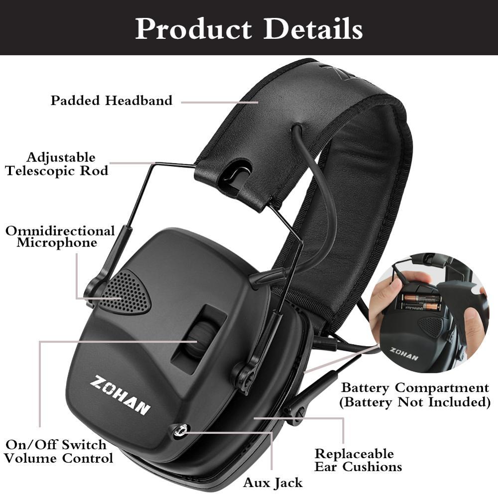 Электронные Наушники ZOHAN для съемки, защита ушей, усиление звука, защита от шума, профессиональный охотничий защитник для ушей, для спорта на открытом воздухе-1