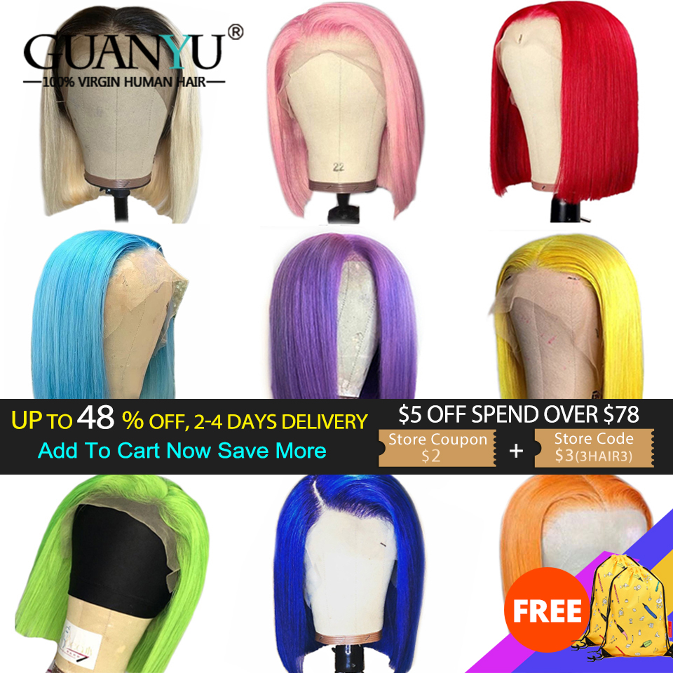 13X6 Bob Lace Front Wig Human Hair 150% Brazilian Remy Ombre Blonde Pink Red Blue Green Grey Orange Colored Short Bob Cut Wigs