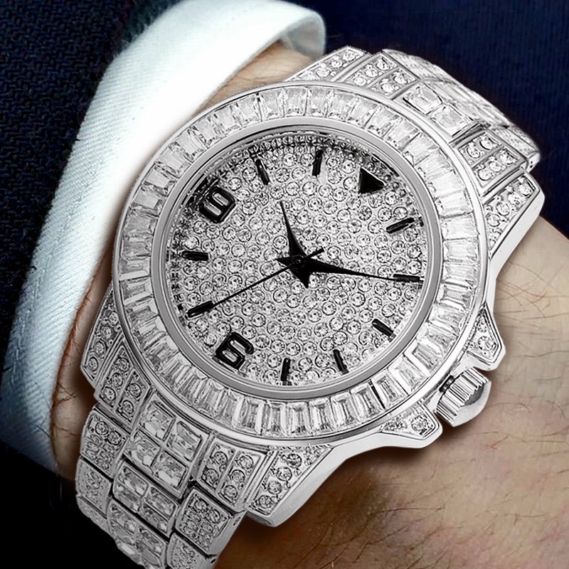MISSFOX 2019 Men Watches Top Brand Luxury Rolexable Waterproof Watch Male Clock Xfcs Baguette Diamond Icd Elegant Quartz Watch