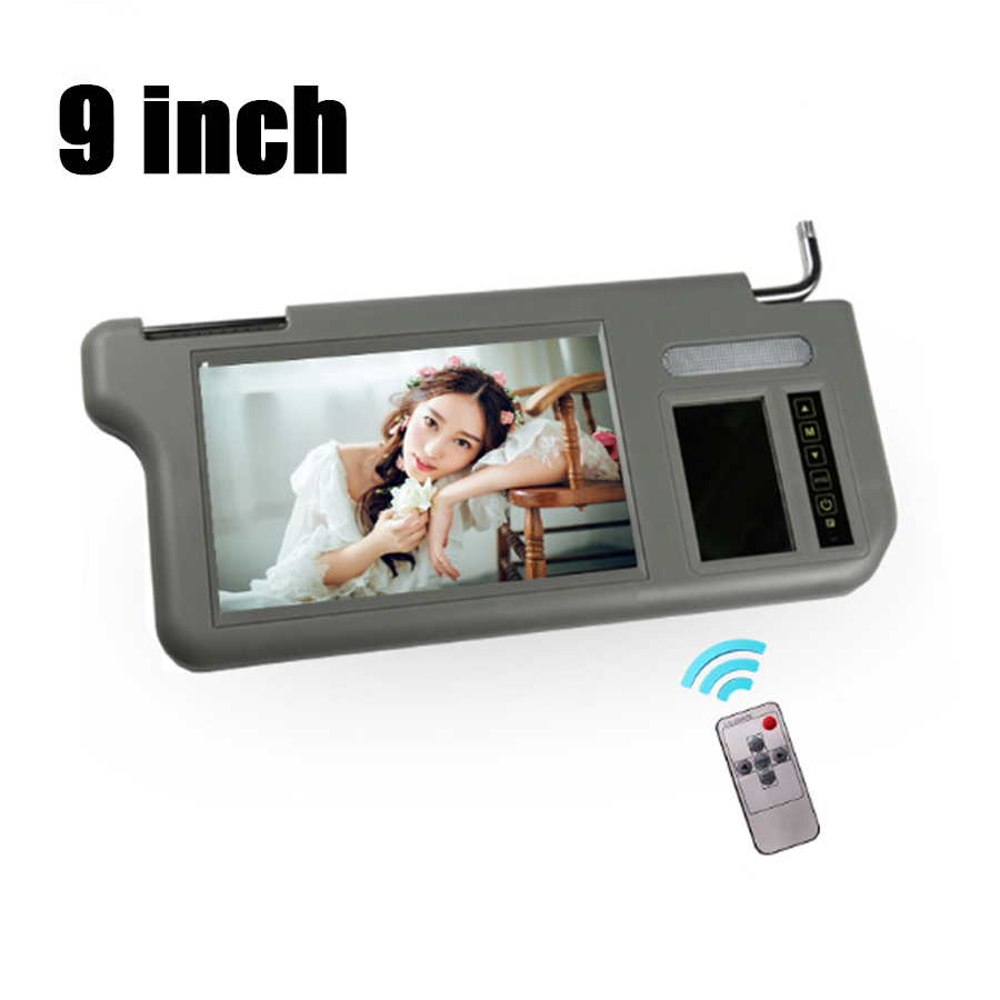 9inch Car Video Sunvisor Screen <font><b>LCD</b></font> Monitor Right Touch Button Side <font><b>2</b></font> Channel For DVD/VCD/GPS/TV Input Signal Rearview Camera image