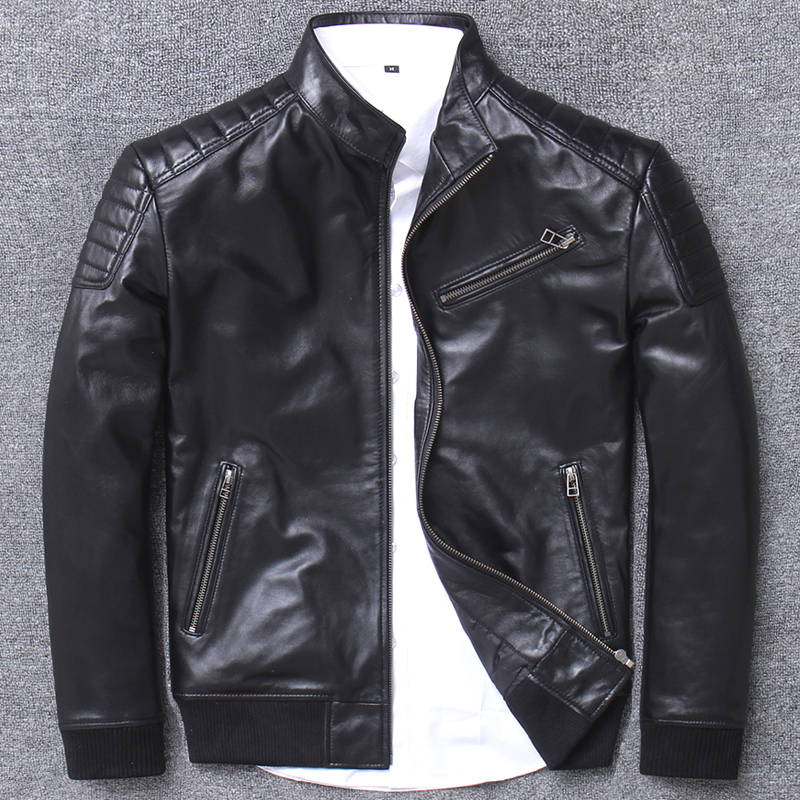 Mens Leather Jacket 100% Sheepskin Coat Genuine Leather Jackets For Men Short Spring Autumn Bomber Jacket 2019 L1937 KJ3187