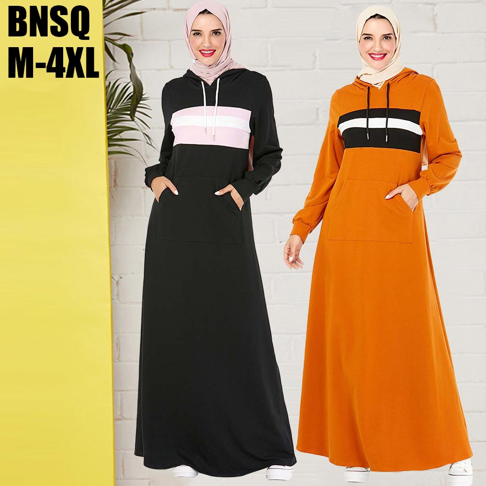 BNSQ Hooded Sweater Maxi Dress With Pocket slamic clothes turkey pakistani Oma Hijab Caftan Robe Dubai Muslim Moroccan Kaftan image