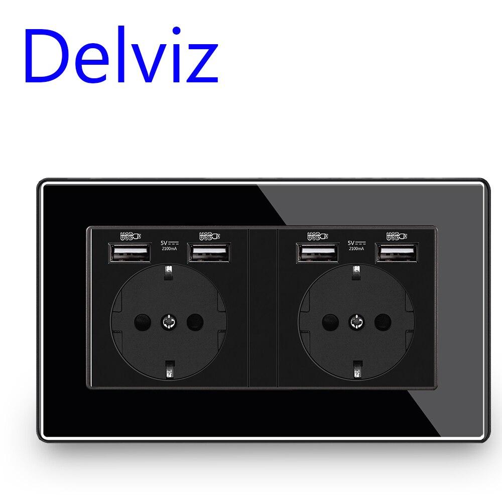 Delviz ЕС Стандартный USB гнездо, черного цвета с украшением в виде кристаллов панель, 5V Четыре usb интерфейс, 146 мм * 86 мм, AC 110 ~ 250V, двойная стена рам...