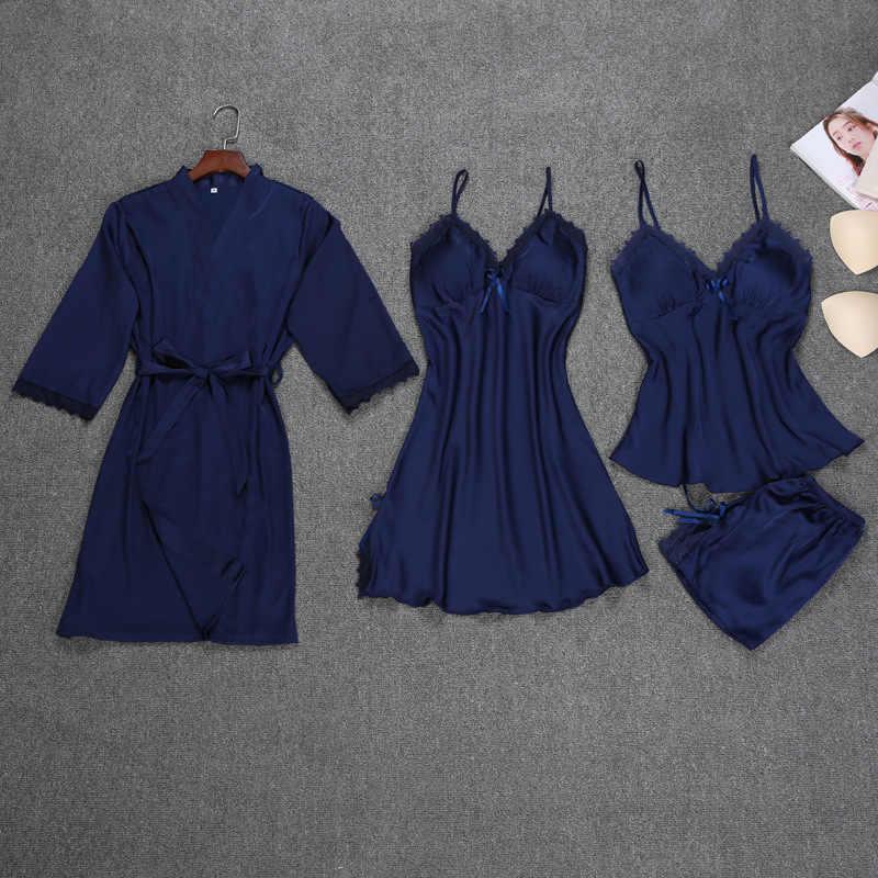 Primavera Sexy bata Kimono ropa de dormir conjuntos mujer 4 piezas Correa Top pantalones traje Casual ropa de casa pijamas ropa de dormir traje de baño m-2XL