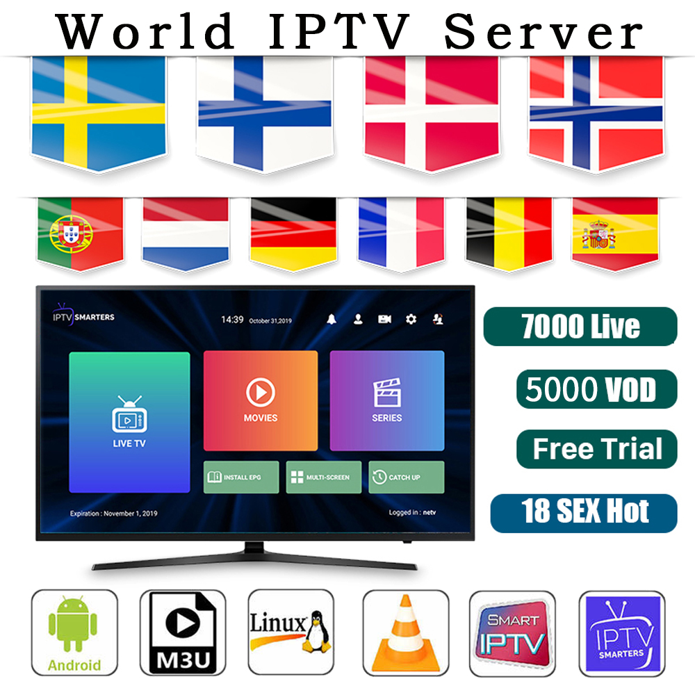 Europe IPTV French Turkish UK German Poland Romania Hungary Czech Spain Nordic HD IPTV Support Android M3U Smart TV Series VOD