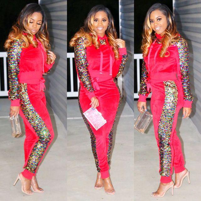 HAOYUAN Autumn Winter Outfits Velvet Two Piece Set Women Sweatsuit Sequin Hoodie Tops+Pant Sweat Suit Matching Velour Tracksuit