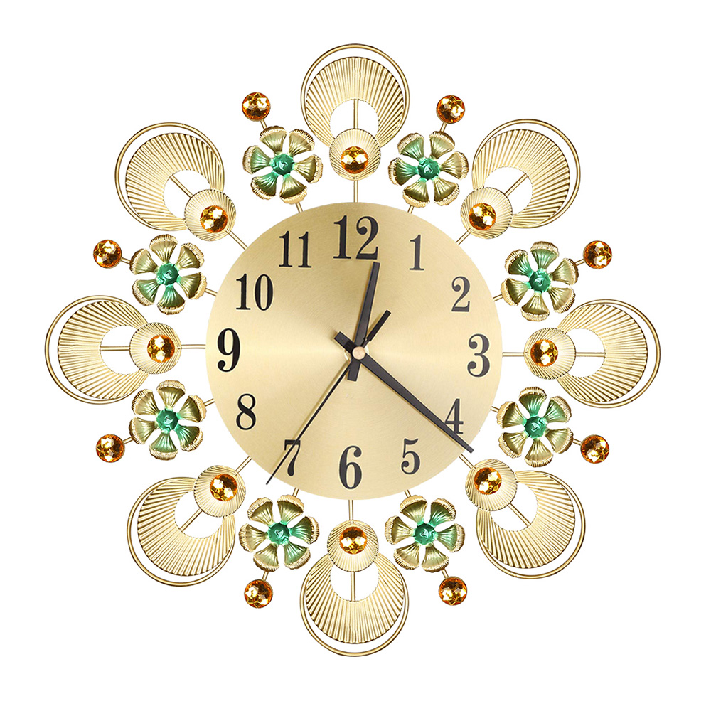 Vintage Metal Crystal Wall Clock Luxury Diamond Flower Wall Clock Mute Home Decoration Large Mute Quartz Wall Clock Wall Decor