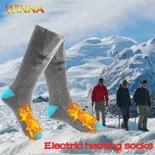Yeni elektrikli ısıtmalı spor çorapları şarj edilebilir ısıtma çorap Unisex ayak ısıtıcıları kış açık kayak bisiklet yürüyüş termal çorap