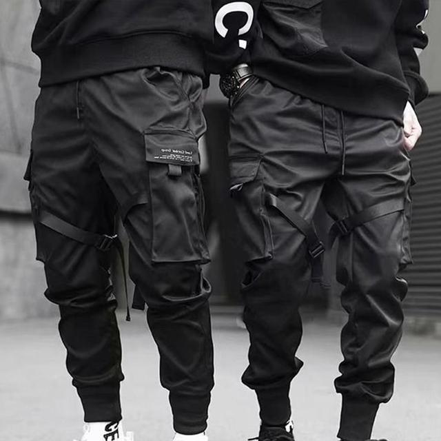 Hip Hop Boy Multi-pocket Elastic Waist Design Punk Casual Trousers Jogger Harem Pant Men Street wear Male Dancing Black Pant 2