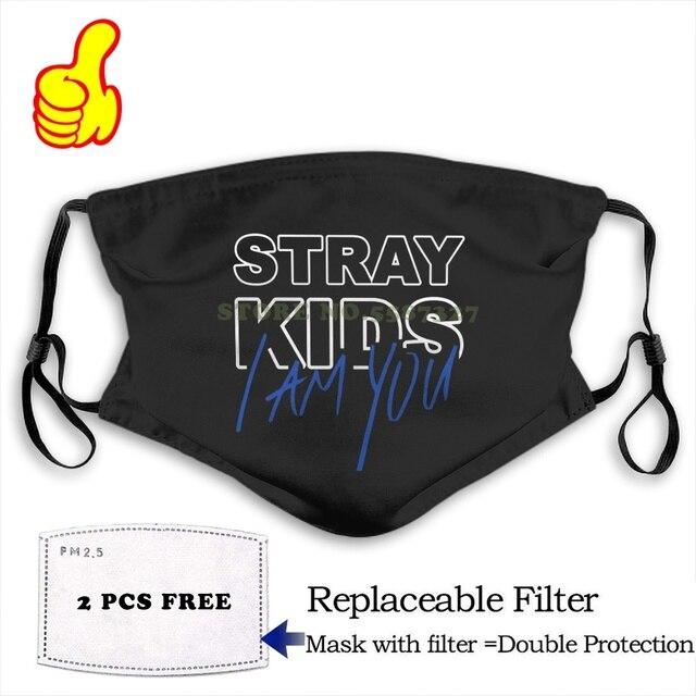 Face Mask KPOP STRAY KIDS I AM YOU ALBUM OFFICIAL LOGO fashion funny design black Reusable Protective Masks