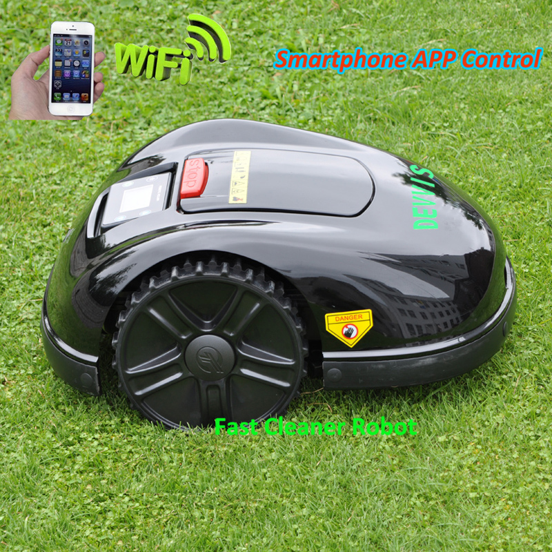 Newest 5th Gerneration DEVVIS Smartphone APP Robot Lawn Mower E1600T With 13.2ah Lithium Battery, GYROSCOPE Navigation Function