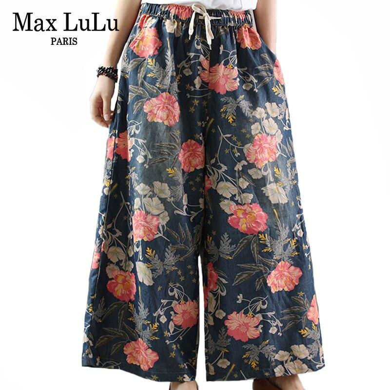 Max LuLu 2020 Spring New Fashion Vintage Wide Leg Pants Ladies Floral Jeans Women Printed Denim Trousers Chiese Style Streetwear