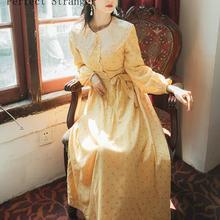 Высокое качество, осень, Новое поступление, во французском стиле, воротник Питер Пэн, узор в горошек, женское хлопковое длинное платье желтого цвета