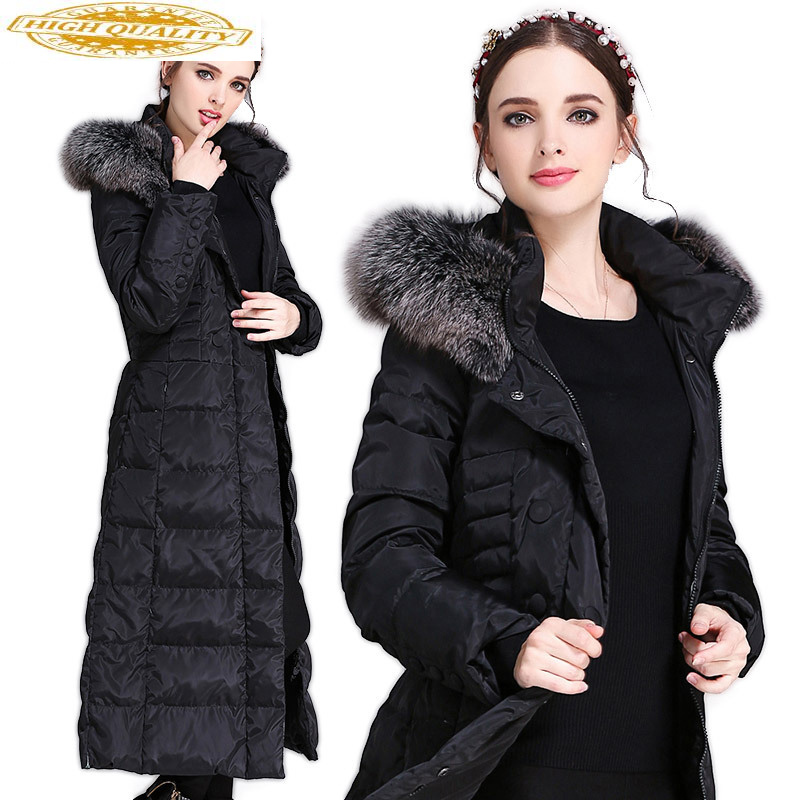 Long Winter Coat Women 90% Duck Down Jacket Woman Hooded Plus Size Puffer Jacket Fox Fur Collar Overcoat Women's Jackets KJ2612