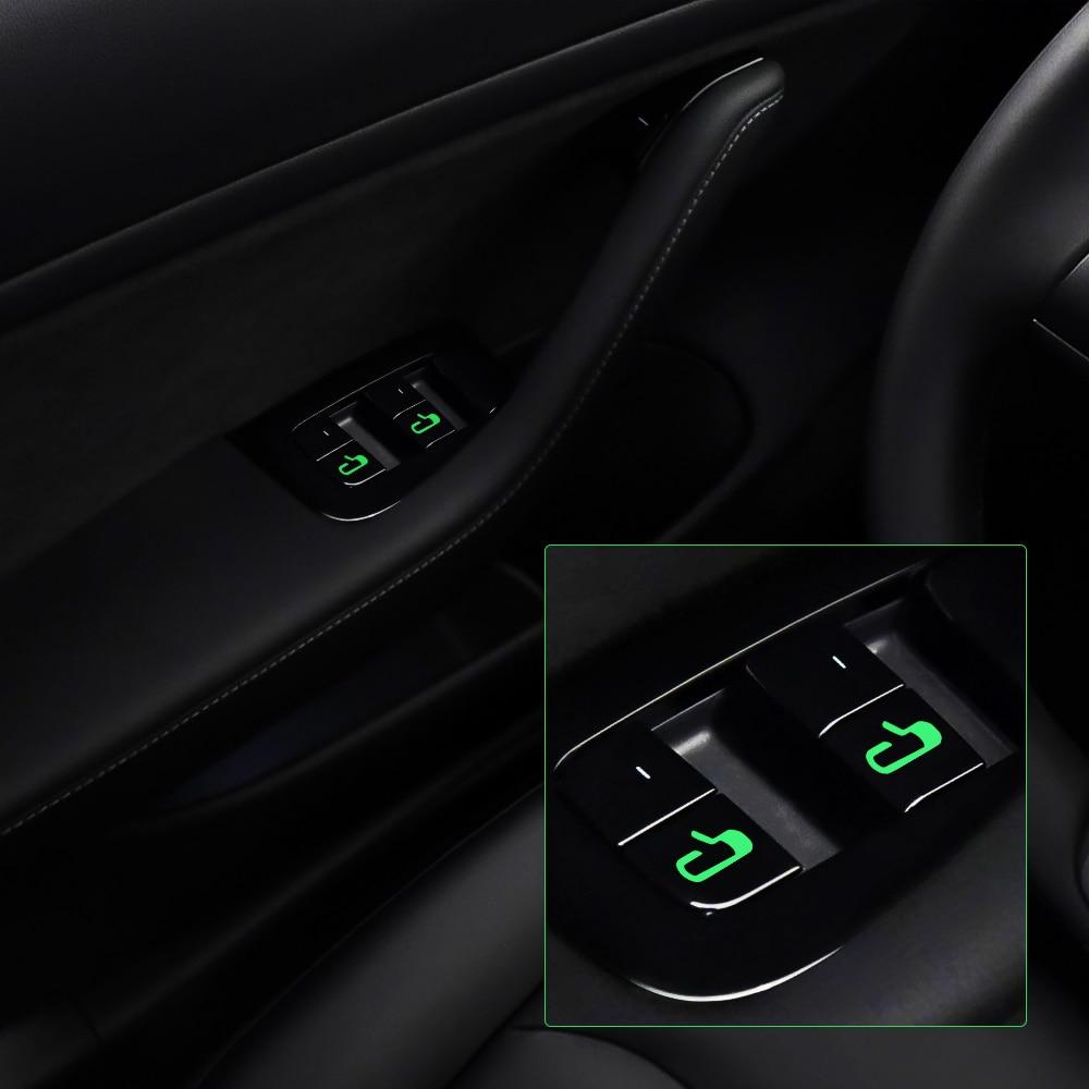 8pcs Car Door Open Exit Sticker For Tesla Model 3 Decal Interior Decoration Door Open Button Luminous