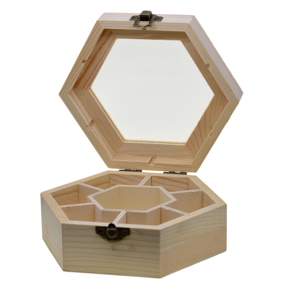 Natural Plain Wooden Jewellery Crafts Storage Box With Glass Lid and Lock Hexagon Shaped Chest Storage Collection Box