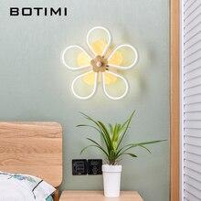BOTIMI ART DECO 220V LED Wall Lamp In Flower Shaped For Bedroom Wooden Reading Sconce Decoration Bedside Lighting Fixtures