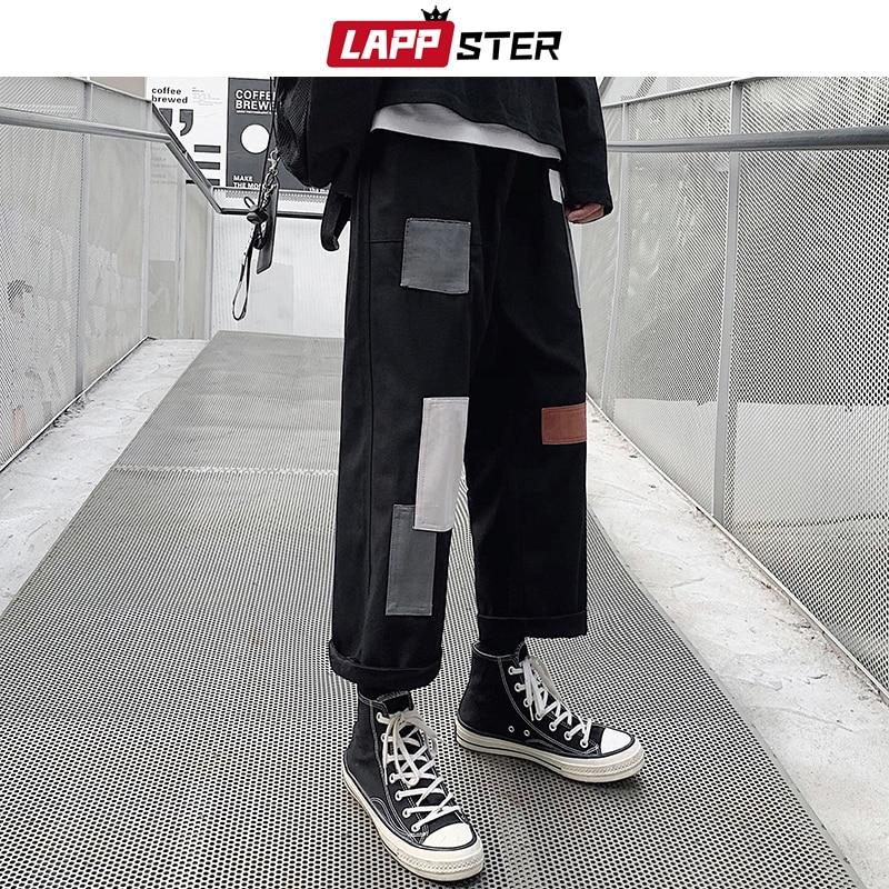 LAPPSTER Men Patchwork Korean Harem Pants 2020 Mens Chic Harajuku Black Sweatpants Joggers Male Hip Hop Casual Cargo Pants