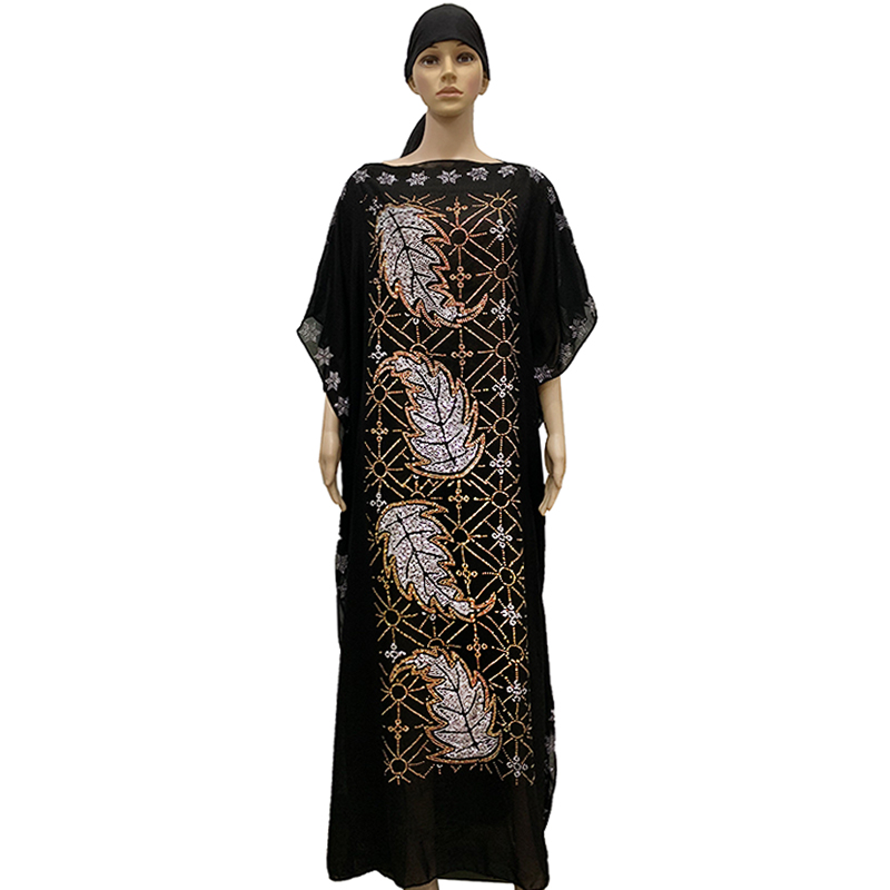 New African Oversize Chiffon African Loose Size Leaf Stones Women Casual Dress Dashiki Robe BD05