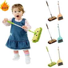 Dustpan-Set Drag Baby Cleaning Mini Broom Pretend-Play-Toy Sweeping-House Kids Children